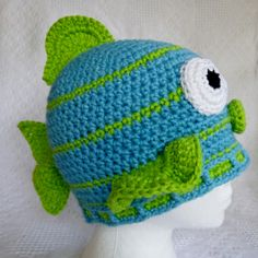 http://crochetbydarleenhopkins.com/2013/03/10/stash-bust-update-march-2013/ Crocheted Fish donated charity chemo hat to Halos of Hope #halosofhope