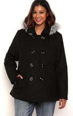 Deb Shops Plus Size Double Breasted Wool Coat with Fur Trimmed Hood $35.00