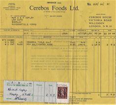 Cerebos. Willesden Invoice (1966)