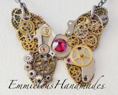 OOAK Steampunk Butterfly No.21 Pendant Necklace antique watch parts red swarovski crystals on an antique gold chain Steampunk cog necklace on Etsy, £49.00
