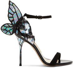 SOPHIA WEBSTER Black & Silver Chiara Sandals. #sophiawebster #shoes #sandals