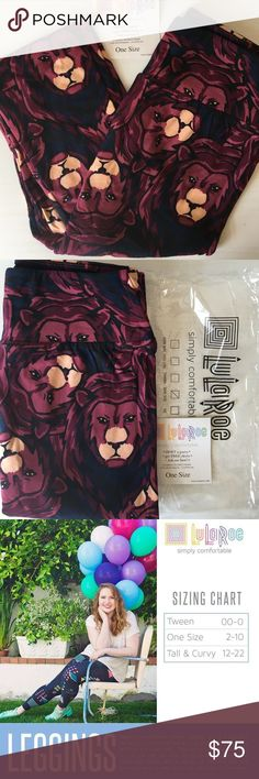 LuLaRoe Unicorn Leggings! Wow!  Sought after LLR Lion Head OS unicorn print leggings.. OS (One Size) fits a size 2-10.. If you wear a 10-12 and are Tall with curves, I would not recommend OS for you! .. Multi color, Navy blue, Dark & Light Purple, black.. OBO LuLaRoe Pants Leggings