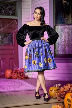 Pinup Couture Petite Jenny Skirt in Lantern Border Print | Pinup Girl Clothing