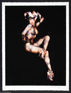 "Pinup Art by Olivia de Berardinis ""Jester on Black"" Print Signed Bettie Page | eBay"
