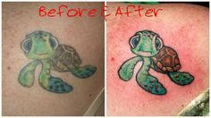 #beforeandafter #rework #squirt #turtle #color #tattoo #studio13tattoomg