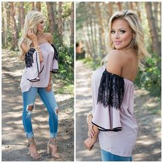 Over the Shoulder Flare Lace Top Almond 😍 (shop link in bio) #wiwt #ootd #fashion #fashionblogger #onlineboutique #onlineshopping #shopmvb #top #lace #offtheshouldertop #style #boutique