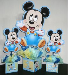 baby mickey mouse centerpiece for 1st birthday | mickey mouse