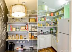 Give a small space big personality with just a few accessories. Melissa of A Prudent Life updated her pantry with eye-catching accents, such as colorful containers, a gold drum pendant, gold hardware pulls, and a chalkboard wall.  See how she transformed her pantry here »   - HouseBeautiful.com