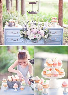Let them eat (Cup)cake(s)! Love using non traditional tables for displaying sweet treats.