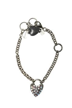 Silver charm bracelet features a heart shaped lock covered in Swarovski crystals. The combination of new crystals and old world French charm is visible in the details of this charming piece.  Heart Lock Charm Bracelet by Mariana. Accessories - Jewelry - Bracelets Philadelphia Pennsylvania