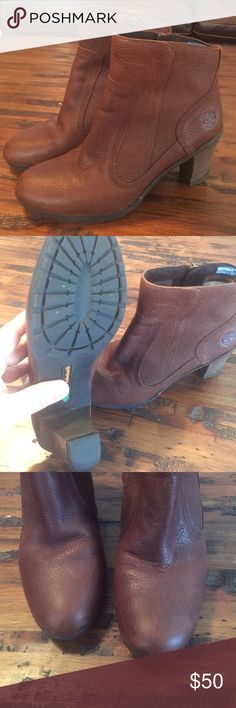 Timberland leather boots- Like New! Beautiful timberland boots with a heel. These boots have anti-fatigue technology so they're great for walking all day! Timberland Shoes Heeled Boots