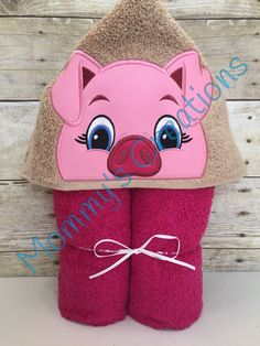 "Girl Pig Applique Hooded Bath Towel, Beach Towel 30"" x 54"" by MommysCraftCreations on Etsy"