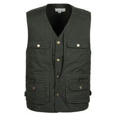 Summer New Brand Vest Casual Men With Multi-Pockets Regular Photography Vest Men Cotton Two Colors Plus Large Size 5XL Vest