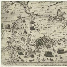 De strijd in de Bommelerwaard, 1599, anoniem, 1599 - Rijksmuseum Den Bosch nog net links boven in.