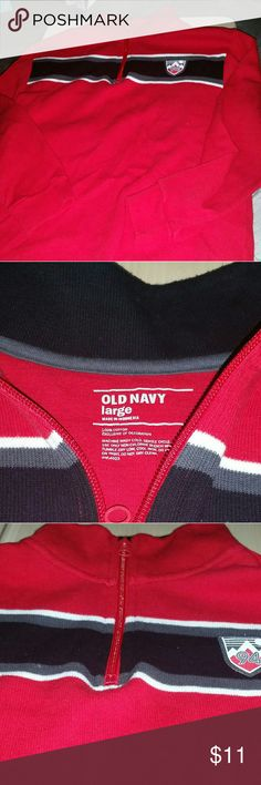Boys OLD NAVY Sweater Size Large Old Navy 1/4 zip sweater, Boys Size Large (10/12) red with navy blue/gray/white stripe  Excellent pre-owned condition, Smoke free home. Old Navy Shirts & Tops