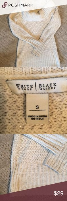 WHBM sweater GUC. No defects noted. Beautiful stitching and has a little bit of gold metallic woven in for subtle sparkle White House Black Market Sweaters Cowl & Turtlenecks