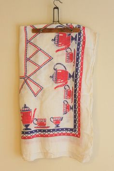 Items similar to Vintage Table Cloth x - Square White with Red and Blue Teapots on Etsy