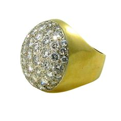 A Fabulous Yellow Gold and Diamond Dome Shaped Ring