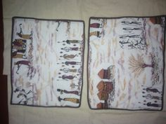 African print fabric table mats set of 6.