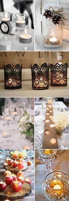 super easy DIY wedding decor ideas with simple short candles