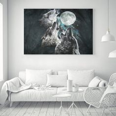 $4.49 - Abstract Wolf Full Moon Silk Canvas Poster Art Fabric Painting Wall Decor A49 #ebay #Home & Garden