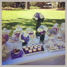 Purple dessert buffet