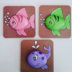 Fish pictures in rocks Pebble Painting, Pebble Art, Stone Painting, Painting On Wood, Art Rupestre, Art Projects, Projects To Try, Rock And Pebbles, Rock Design