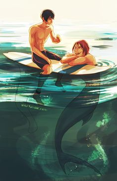 Merman and surfer Free! Iwatobi Swim Club Haru x Rin Fantasy Creatures, Mythical Creatures, Sea Creatures, Percy Jackson Zeichnungen, Arte Percy Jackson, Illustration Manga, Free Iwatobi Swim Club, Mermaids And Mermen, Free Anime