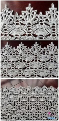 "Вязание крючком для души ""Beautiful crochet shawl with a delicate edging."", ""crochet runner with corner edging"", ""Pattern crocheted, of Filet Crochet, Shawl Crochet, Art Au Crochet, Beau Crochet, Mode Crochet, Crochet Lace Edging, Crochet Motifs, Crochet Diagram, Thread Crochet"