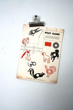 vintage paper shooting game targets farm pest by LegalMissSunshine, $10.00