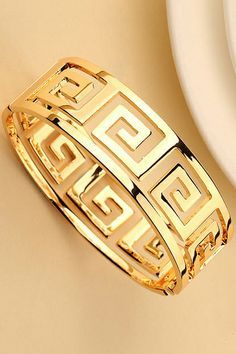Spiral Diamonds Cuff Bracelet (Reminds me of the Hmong patterns) Greek Key Bracelet - I greek key jewelry! Greek Key Bracelet To shine like a Goddess. Jewerly bracelets gold diamonds accessories for 2019 11 Plus-Size Jumpsuits That Are Easily Your Favorit Gold Bangles, Bangle Bracelets, Gold Jewelry, Key Bracelet, Greek Jewelry, Key Jewelry, Cuff Jewelry, Wedding Jewelry, Jewelry Watches