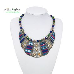 2016 mujer choker necklace rope chain bohemian boho collar tribal ethnic koyle vintage navy blue big necklace & pendants jewelry