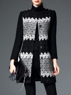 Color-block Wool blend Coat
