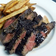 Bistro style flat iron steak frites with a marinade and sauce featuring espresso infused balsamic vinegar.