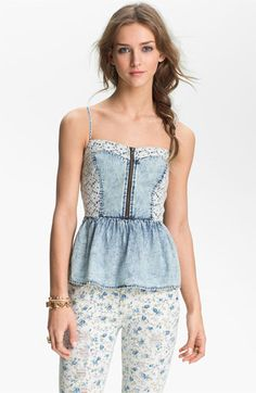 I don't care if it's acid washed :) too cute!  Mimi Chica Lace & Chambray Peplum Camisole (Juniors) available at Nordstrom