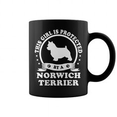Awesome Norwich Terrier Dogs Lovers Tee Shirts Gift for you or your family your friend:   This girl is protected by a Norwich Terrier  Tee Shirts T-Shirts