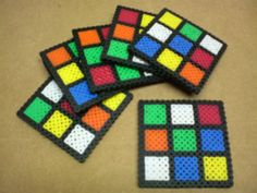 Unsolved Rubik's Cube perler bead drink coasters by 8BitMuffin