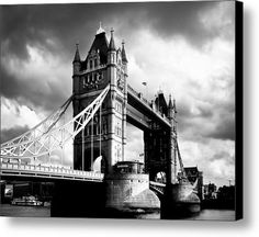Sold a Canvas Print of Moody Tower Bridge to a buyer from Astoria, NY - a black and white print of a true London icon