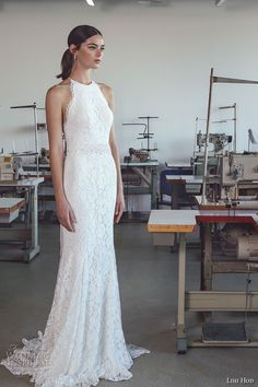 lihi hod 2017 bridal sleeveless halter neck full embellishment classy elegant lace trumpet mermaid wedding dress sweep train (lauren) mv