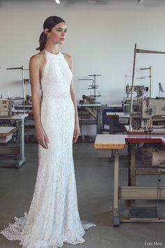 lihi hod 2017 bridal sleeveless halter neck full embellishment classy elegant lace trumpet mermaid wedding dress sweep train (lauren) mv