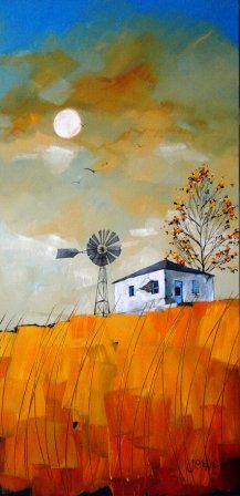glendine                                                                                                                                                      Más Art And Illustration, Landscape Art, Landscape Paintings, South African Art, Windmills, Learn To Paint, Types Of Art, Naive, Beautiful Paintings
