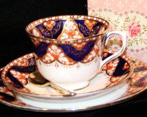 Graduation Vintage, 1930's Tea Cup Gift Set - Hand Painted, Royal Albert Crown China, Imari Trio , Fabric Keepsake Box & Much More!