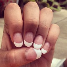 French manicure!!! I kind of like these little tiny ones! I also like how. They are round!