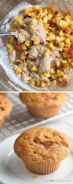 Peach Muffins Vanilla Peach Muffins recipe -- You only need one bowl to make these easy muffins!Vanilla Peach Muffins recipe -- You only need one bowl to make these easy muffins! Peach Muffin Recipes, Peach Recipes Easy, Healthy Peach Muffins, Breakfast Recipes, Dessert Recipes, Breakfast Muffins, Mini Muffins, Breakfast Potatoes, Biscuits