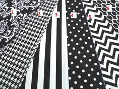 Black and white table runner, polka dot runner, chevron runner, houndstooth tablecloth