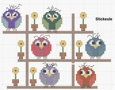 no color chart available, just use pattern chart as your color guide. or choose your own colors. Tiny Cross Stitch, Cross Stitch Animals, Cross Stitch Charts, Cross Stitch Designs, Cross Stitch Patterns, Cross Stitching, Cross Stitch Embroidery, Owl Crafts, Owl Patterns