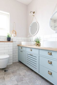 Cozy Bathroom, Bathroom Kids, Bathroom Interior Design, Kitchen Interior, Home Decor Kitchen, Kitchen Design, Bathroom Renovations, Bathroom Furniture, Bathroom Inspiration