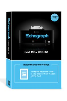 The Echograph iPad CF+USB Kit is the fastest way to import photos and videos from your iPhone and other cameras to the iPad for use in Echograph as well as great other App Store apps. Import Compact Flash card media (including RAW, JPG and H.264 video) or connect external cameras (including the iPhone) via USB to the iPad via the Photos app. $25