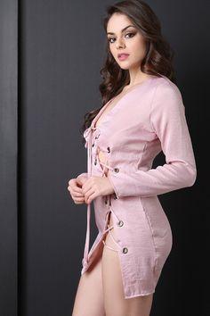 Asymmetrical Lace Up Deep V-Neck Dress