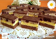 Fantázia szelet   NOSALTY Dessert Bars, Dessert Recipes, Torte Cake, Hungarian Recipes, Recipe Collection, Cake Cookies, Food And Drink, Sweets, Healthy Recipes